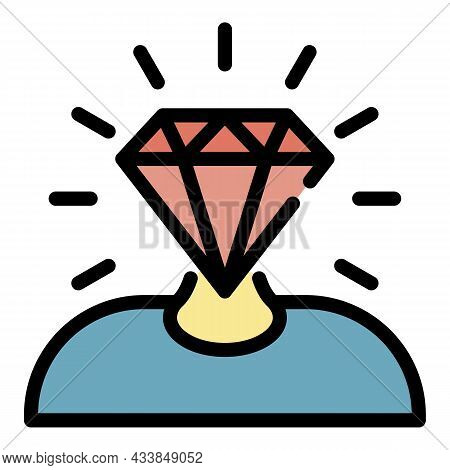 Man With A Diamond Head Icon. Outline Man With A Diamond Head Vector Icon Color Flat Isolated
