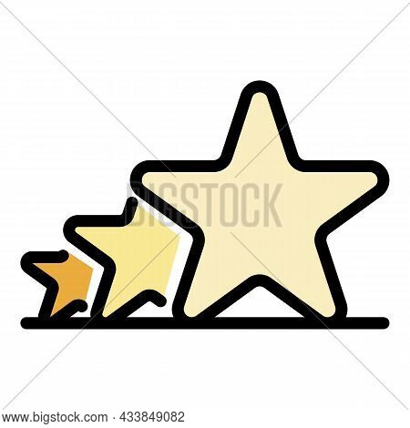 Three Stars In A Row Icon. Outline Three Stars In A Row Vector Icon Color Flat Isolated