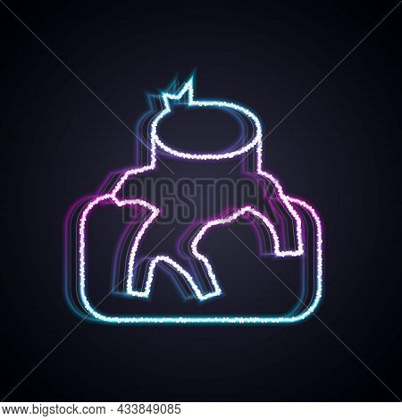 Glowing Neon Line Deforestation Icon Isolated On Black Background. Chopping Forest, Destruction Of W