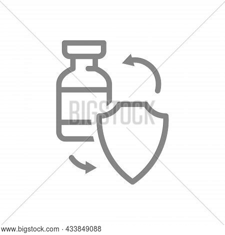Medical Ampoule And Shield Line Icon. Vaccination Of The Population, Serum, Certified Vaccine, Immun