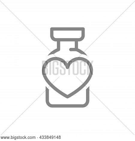 Medical Ampoule With Heart Line Icon. Vaccine, Serum, Immunization, Positive Feedback Symbol