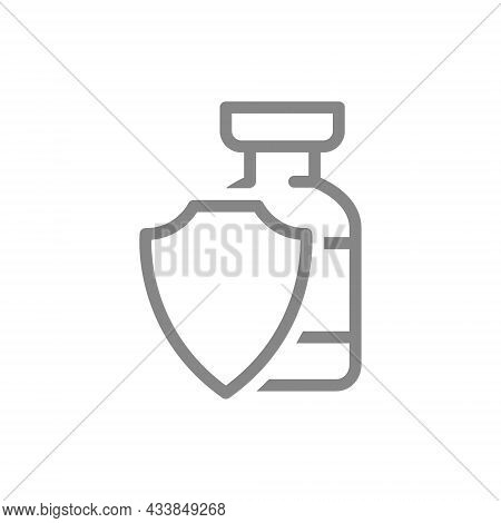 Medical Ampoule And Shield Line Icon. Vaccination, Serum, Certified Vaccine, Immunization Symbol