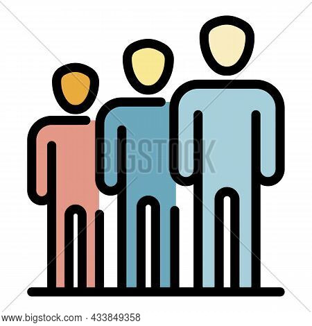 People In A Row Icon. Outline People In A Row Vector Icon Color Flat Isolated