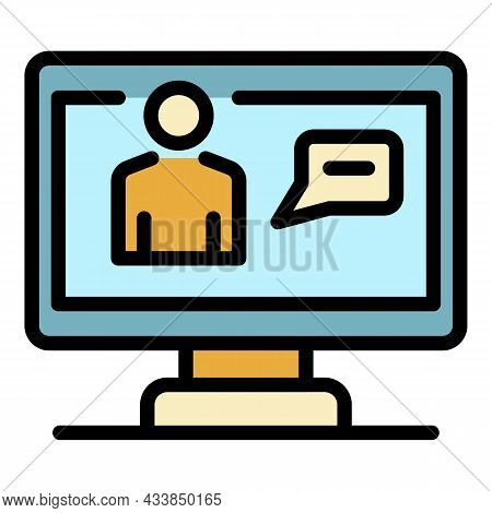 Screen Broadcast Icon. Outline Screen Broadcast Vector Icon Color Flat Isolated