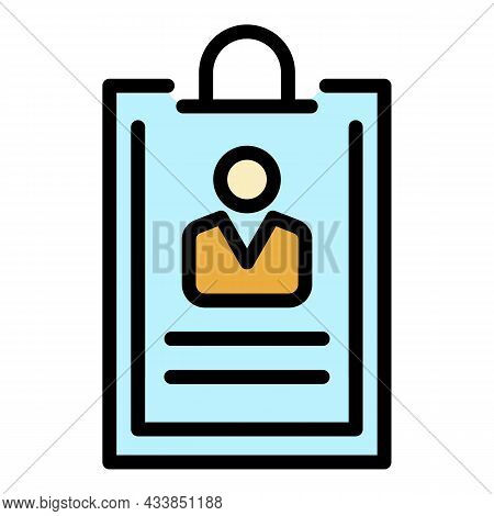 Customer Info Icon. Outline Customer Info Vector Icon Color Flat Isolated