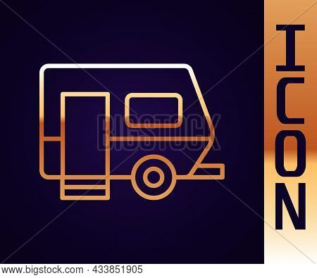 Gold Line Rv Camping Trailer Icon Isolated On Black Background. Travel Mobile Home, Caravan, Home Ca