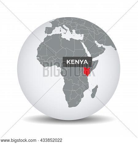 World Globe Map With The Identication Of Kenya. Map Of Kenya. Kenya On Grey Political 3d Globe. Afri