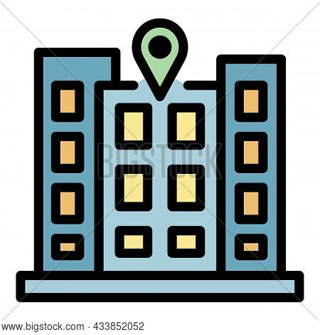 Hotel Property Icon. Outline Hotel Property Vector Icon Color Flat Isolated