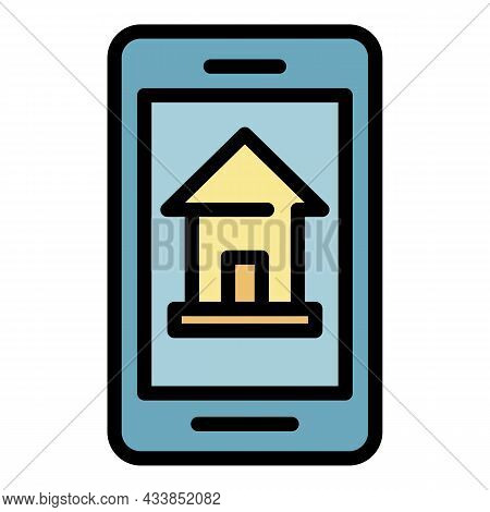 Smartphone House Leasing Icon. Outline Smartphone House Leasing Vector Icon Color Flat Isolated