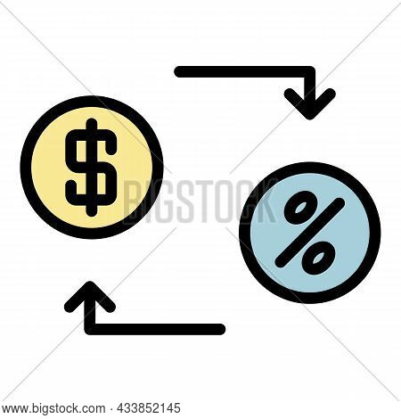 Lease Money Convert Icon. Outline Lease Money Convert Vector Icon Color Flat Isolated