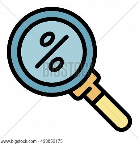 Search Good Lease Percent Icon. Outline Search Good Lease Percent Vector Icon Color Flat Isolated