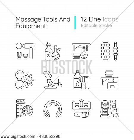 Massage Tools And Equipment Linear Icons Set. Devices For Stimulating Back. Massaging Equipment. Cus