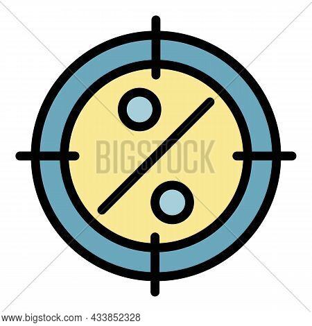 Lease Low Percent Target Icon. Outline Lease Low Percent Target Vector Icon Color Flat Isolated