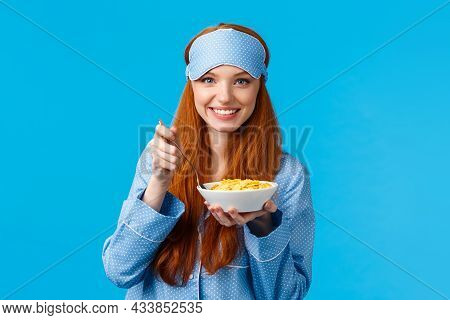 Wanna Bite. Cute Feminine Young Redhead Girl In Glamour Nightwear, Sleep Mask, Prepare Breakfast, Ho