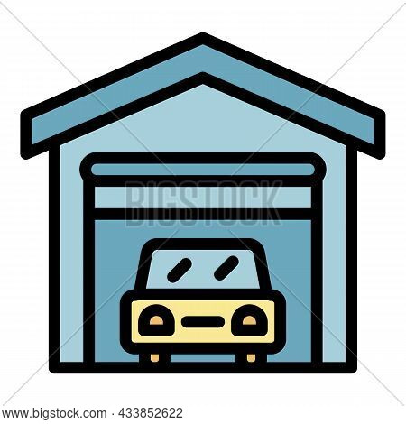 Lease Car Garage Icon. Outline Lease Car Garage Vector Icon Color Flat Isolated