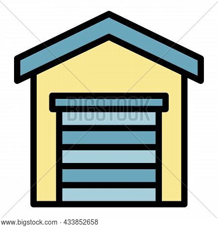 Lease Garage Icon. Outline Lease Garage Vector Icon Color Flat Isolated