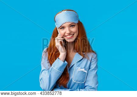 No You Hang First. Lovely And Beautiful Redhead Girlfriend Talking Phone Till Midnight, Wearing Slee