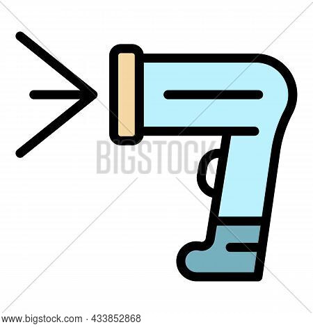 Cashier Barcode Scanner Icon. Outline Cashier Barcode Scanner Vector Icon Color Flat Isolated