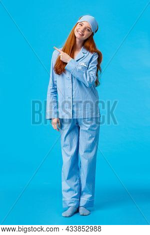 Vertical Full-length Studio Cheerful And Silly, Tender Feminine Woman In Nightwear And Sleep Mask, T