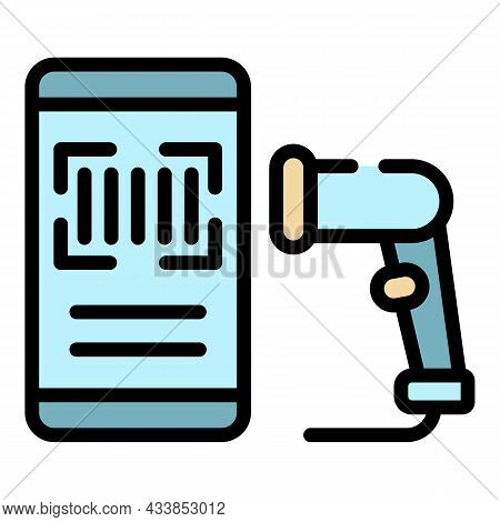 Smartphone Barcode Scanner Icon. Outline Smartphone Barcode Scanner Vector Icon Color Flat Isolated