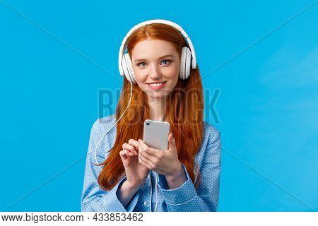 Tender And Feminine, Cute Redhead Female Student, Wearing Headphones Study Lisening Classical Music,