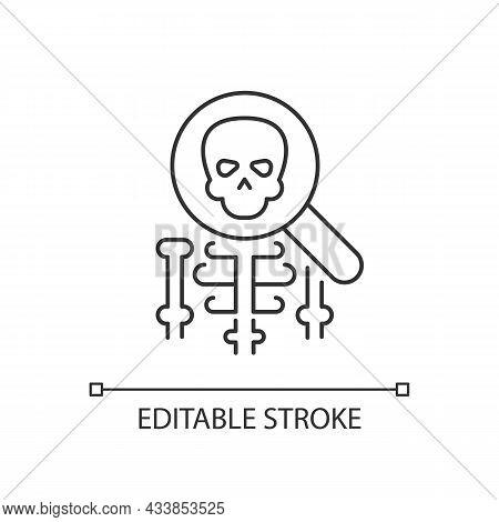 Anatomy Linear Icon. Human Body Structure Study. Skeleton Under Magnifying Glass. Thin Line Customiz
