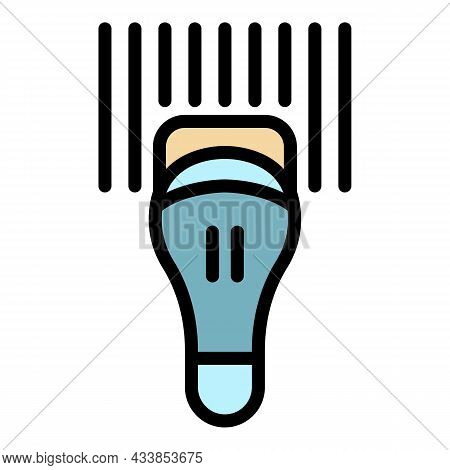 Commercial Barcode Scanner Icon. Outline Commercial Barcode Scanner Vector Icon Color Flat Isolated
