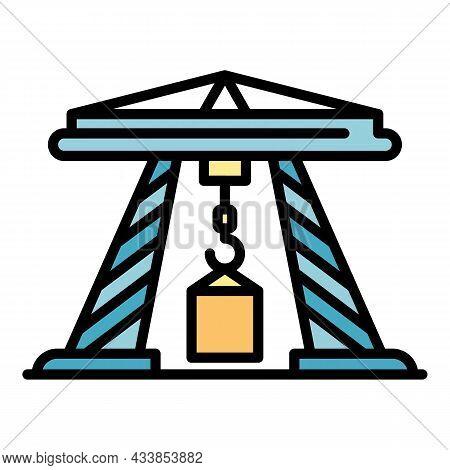Sea Port Crane Icon. Outline Sea Port Crane Vector Icon Color Flat Isolated