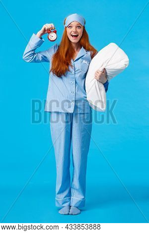 Full-length Vertical Studio Attractive Excited And Happy Cheerful Upbeat Girl In Nightwear Woke Up E