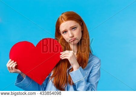 Breakup, Sadness And Romantic Relationship Concept. Sad Girl Left Alone On Valentines Day, Sobbing A