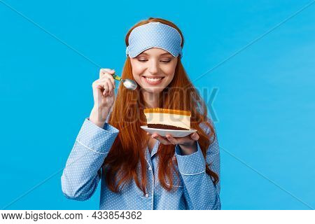 Waist-up Portrait Cheerful And Delighted Young Caucasian Redhead Woman In Pyjama And Sleep Mask, Hol