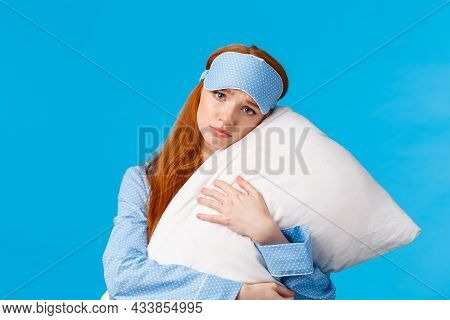 Sad Redhead Girl Feeling Depressed Dont Want College, Lying In Bed, Hugging Pillow, Frowning And Loo