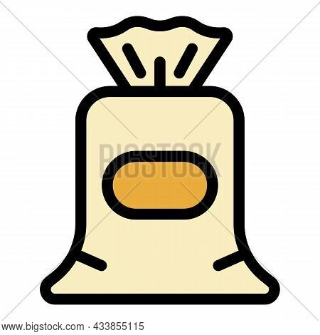 Cotton Sack Icon. Outline Cotton Sack Vector Icon Color Flat Isolated