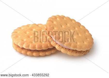 Two cream stuffed sandwich wheat crackers isolated on white