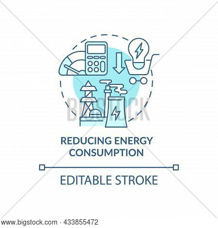 Reducing Energy Consumption Concept Icon. Common Initiative Abstract Idea Thin Line Illustration. Us