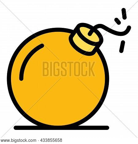 Quest Bomb Icon. Outline Quest Bomb Vector Icon Color Flat Isolated