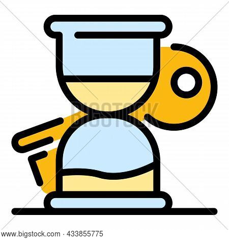 Quest Hourglass Key Icon. Outline Quest Hourglass Key Vector Icon Color Flat Isolated