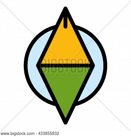 Quest Compass Icon. Outline Quest Compass Vector Icon Color Flat Isolated