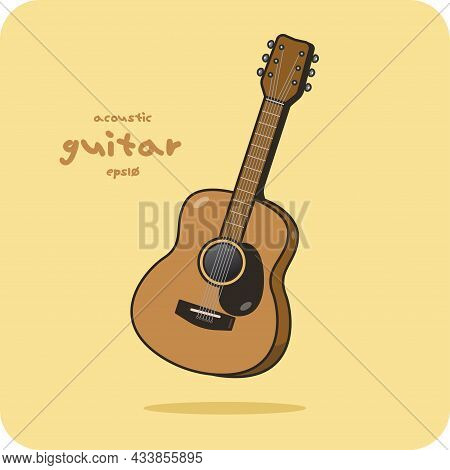 Acoustic Guitar, Vector Design And Isolated Background.