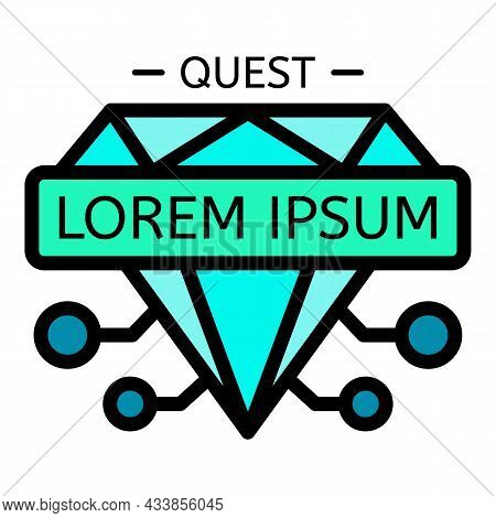 Diamond Quest Icon. Outline Diamond Quest Vector Icon Color Flat Isolated
