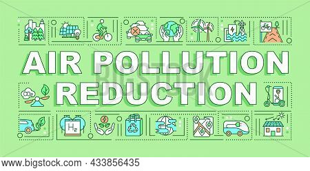Air Pollution Reduction Word Concepts Banner. Reuse And Recycling. Infographics With Linear Icons On