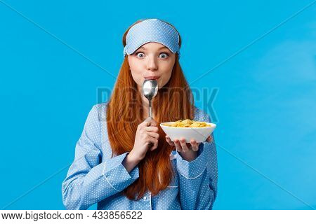 Mmm Delicious. Cute Pretty Foxy Teenager College Girl Licking Spoon Eating Tasty Cereals, Holding Pl
