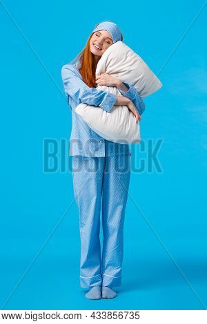 Morning, Woman And Beauty Concept. Full-length Vertical Shot Cheerful, Tender, Lovely Redhead Teenag