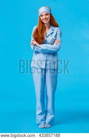Vertical Full-length Shot Happy Cheerful Caucasian Foxy Woman, Teenage Redhead Girl In Nightwear And