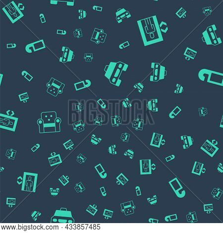 Set Taxi Car, Lift, Armchair And Please Do Not Disturb On Seamless Pattern. Vector