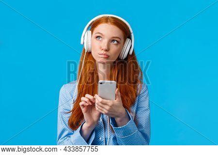 Thoughtful And Creative, Pensive Caucasian Redhead Woman, Foxy Girl In Nightwear, Looking Up Thinkin