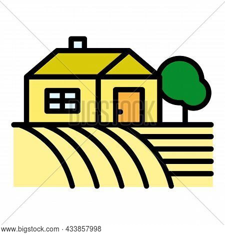 Farm House On Field Icon. Outline Farm House On Field Vector Icon Color Flat Isolated