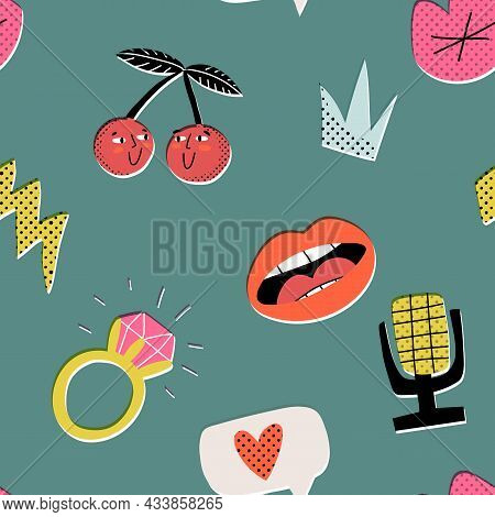 Happy Valentines Day Pop Art Seamless Pattern. Cherries In Love, Lips Singing Love Song, Wedding Rin
