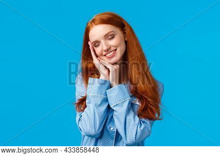 Waist-up Shot Tender And Sensual Redhead Female In Cute Soft Pyjama, Applied Nightcream, Take-off Co