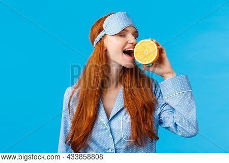 Delicious Fruit Starting Morning Healthy. Waist-up Portrait Attractive Sleepy, Pretty Redhead Girl I